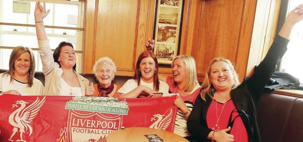 Brendan Rodgers' cousins and his aunt Jean McMullan watch the Liverpool v Chelsea game in Carnlough