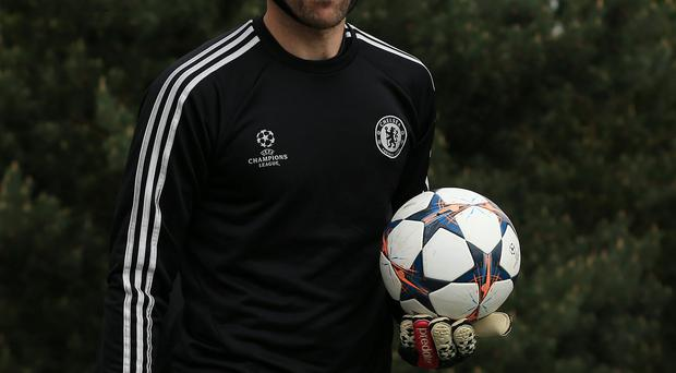 Chelsea's Petr Cech during a training session at Cobham Training Ground today