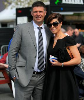 Niall Quinn & Gillian Quinn at the 2014 Punchestown racing festival recently Photo: Gareth Chaney Collins