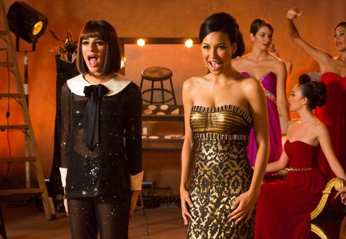 Lea Michele (L) and Naya Rivera (R) in Glee