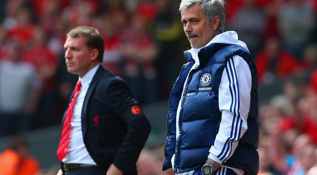 Manager Brendan Rodgers of Liverpool and Jose Mourinho manager of Chelsea