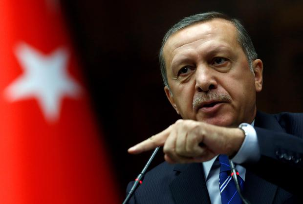 Turkish Prime Minister Tayyip Erdogan addresses members of parliament from his ruling AK Party (AKP) during a meeting at the Turkish parliament in Ankara. Reuters