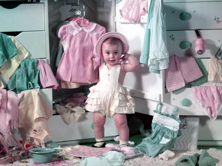 Even in 1952 baby girls liked their pink.