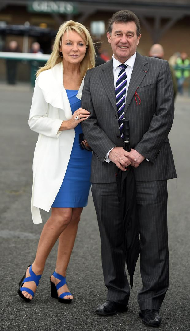 Jackie Lavin & Bill Cullen in Punchestown on the second day of the Festival © Michael Chester
