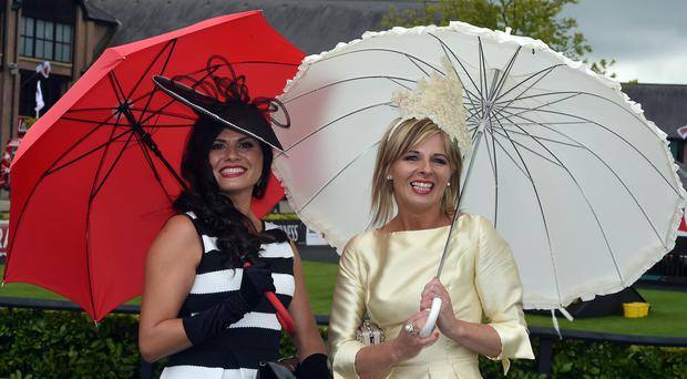 Fabiola Stein and Colette Reynolds at the second day of the Punchestown racing festival © Michael Chester