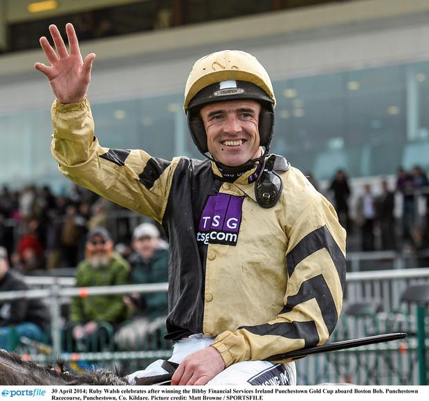 Ruby Walsh celebrates after winning the Bibby Financial Services Ireland Punchestown Gold Cup aboard Boston Bob. Punchestown Racecourse, Punchestown, Co. Kildare. Picture credit: Matt Browne / SPORTSFILE