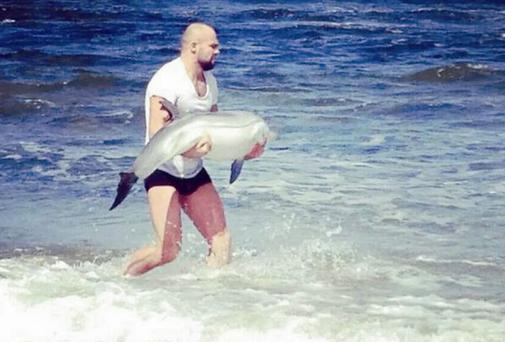Cathal Pendred helps th dolphin