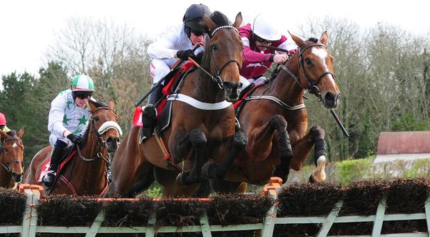 BEAT THAT & Barry Geraghty Jump The Last To WIn The Irish Daily Mirror Novice Hurdle Grade 1 From DON POLI & Ruby Walsh