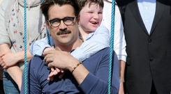 Diarmaid de Bhillis hanging out with Colin Farrell during Colin's visit to Home from Home at Bellview, Ballydowney, Killarney on Saturday. Photo: Michelle Cooper Galvin.