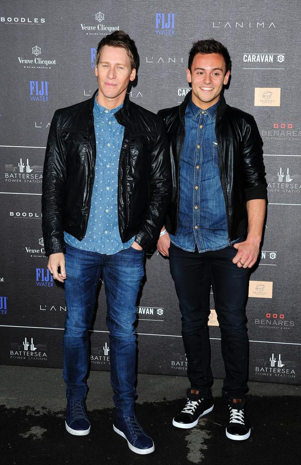 Tom Daley (right) and Dustin Lance Black attending the first Battersea Power Station Annual Party at Battersea Power Station, London