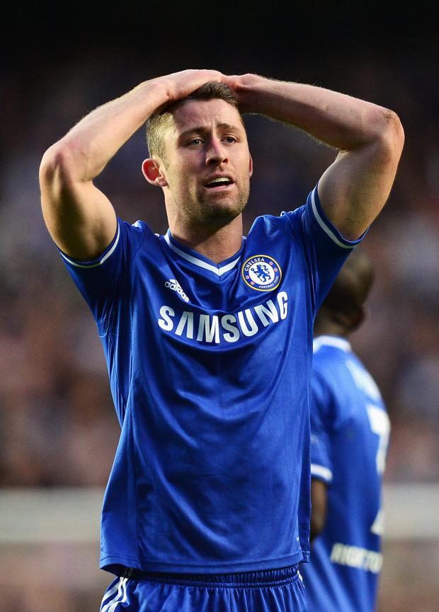 Gary Cahill of Chelsea reacts during the UEFA Champions League semi-final second leg match between Chelsea and Club Atletico de Madrid at Stamford Bridge on April 30, 2014 in London, England. (Photo by Jamie McDonald/Getty Images)