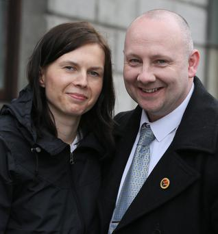 1/5/2014 Martin O'Neill (45) of Kelly's Bay Cove, Skerries,Dublin, leaving court yesterday(Thurs) - with his wife, Emelia, after he was awarded over €12,000 damages following a Circuit Civil Court hearing.Pic: Collins