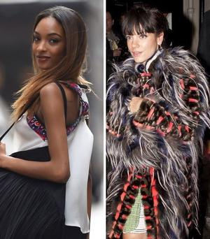 Jourdan Dunn (left) calls singer Lily Allen out over her lyrics