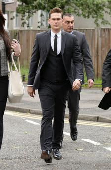 Blue star Lee Ryan arrives at Ealing Magistrates' Court, west London, where he will appear charged with failing to provide a specimen and criminal damage: Yui Mok/PA Wire