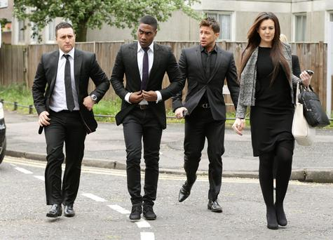 Blue members (left to right) Antony Costa, Simon Webbe and Duncan James arrive at Ealing Magistrates' Court, west London, to support fellow band member Lee Ryan : Yui Mok/PA Wire