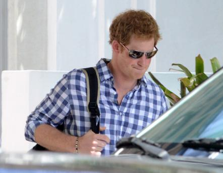 Prince Harry is sighted leaving the Soho Beach House on May 1, 2014 in Miami Beach, Florida. (Photo by Dave Lee/GC Images)