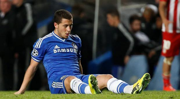Chelsea's Eden Hazard reacts at the end of their Champions League semi-final second leg soccer match against Atletico