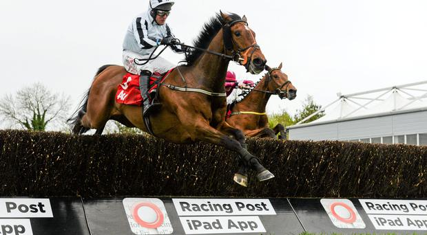 Operating, with Robbie Power up, jumps the last ahead of Balnaslow, with Ruby Walsh up, on their way to winning the Aon Novice Handicap Steeplechase.