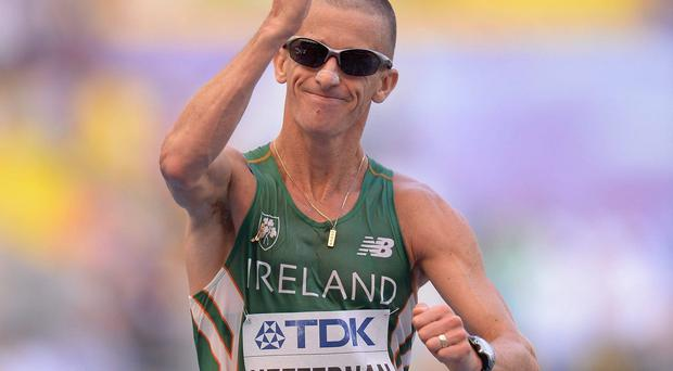 Ireland's Robert Heffernan on his way to winning the men's 50k walk event at the IAAF World Athletics Championships in Moscow