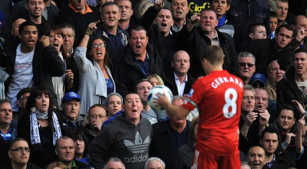 Everton fans let Steven Gerrard know what they think of him. Photo: Michael Regan/Getty Images