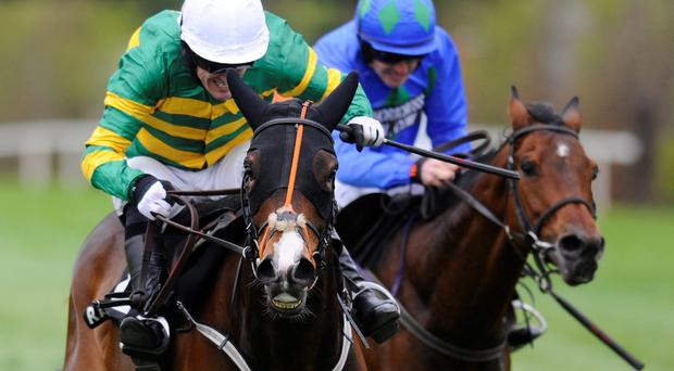 Tony McCoy drives Jezki to victory from Hurricane Fly (Ruby Walsh) in the Racing Post Champion Hurdle at Punchestown yesterday. Photo: Alan Crowhurst/Getty Images