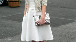 Amy Huberman at the Punchestown 2014 festival in Punchestown Racecourse Co. Kildare. Photo: Collins