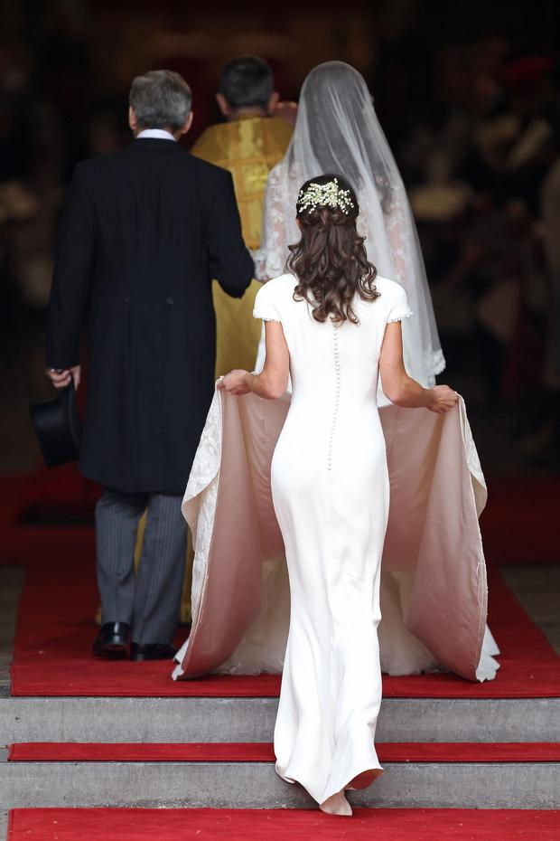 Catherine Middleton with the father Michael Middleton and Maid of Honour Pippa Middleton arrive to attend her Royal Wedding to Prince William at Westminster Abbey on April 29, 2011