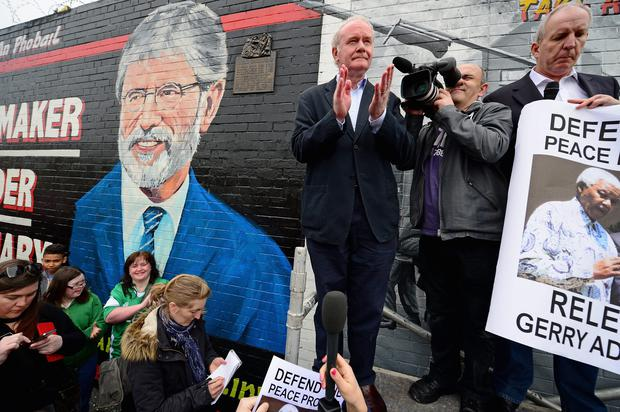 Sinn Fein's Martin McGuinness addresses nationalist gathered on the Falls Road in support of Gerry Adams on May 3, 2014 in Belfast, Northern Ireland. The Sinn Fein leader has spent a third night in police custody in connection with the 1972 murder of mother-of-10 Jean McConville. (Photo by Jeff J Mitchell/Getty Images)