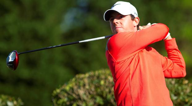 Rory McIlroy tees off on the fifth hole during the third round of the Wells Fargo Championship at Quail Hollow