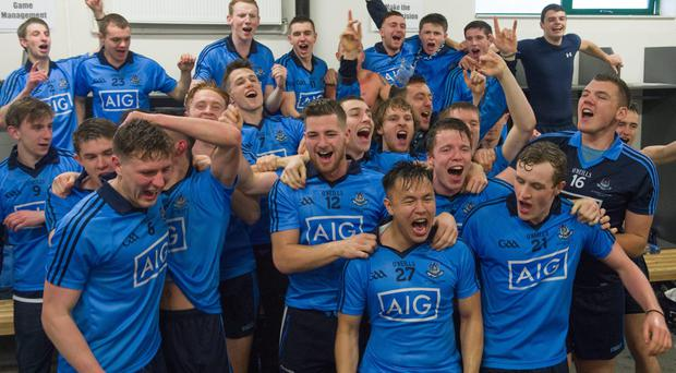 The Dublin players celebrate after yesterday's All-Ireland U21 final victory over Roscommon in O'Connor Park