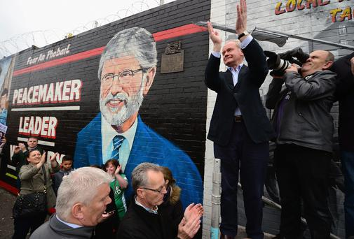 Sinn Fein's Martin McGuinness addresses a crowd gathered on the Falls Road in support of Gerry Adams yesterday in Belfast. (Photo by Jeff J Mitchell/Getty Images)