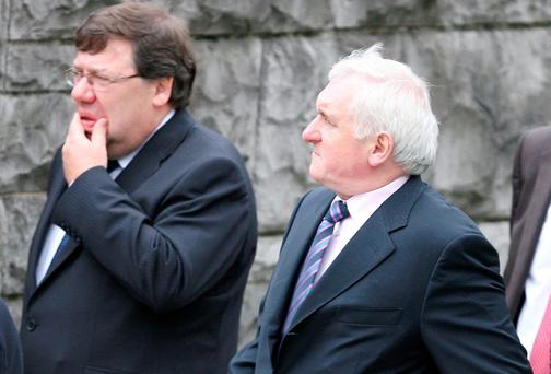 FALL GUYS: Former Taoisigh Brian Cowen and Bertie Ahern
