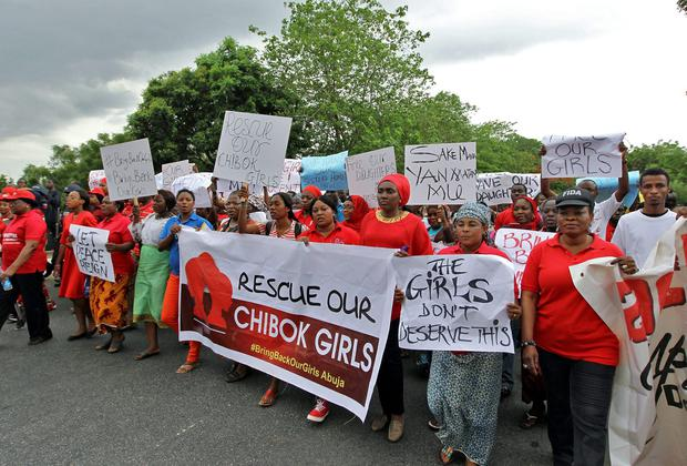 Members of various civil society organisations (CSOs) protest against the delay in securing the release of the abducted schoolgirls who were kidnapped in Abuja