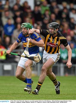 Noel McGrath, Tipperary, in action against Jackie Tyrrell