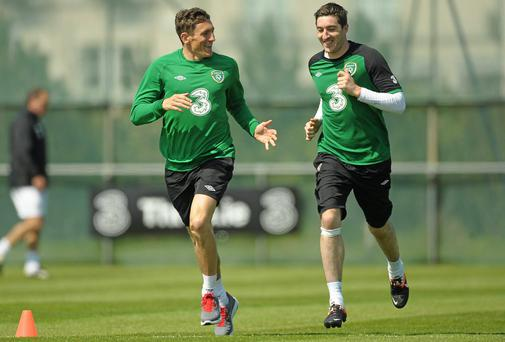 Ireland and Brighton teammates Keith Andrews, left, and Stephen Ward