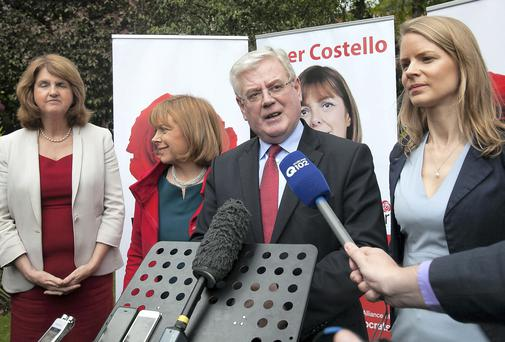 Minister for Social Protection Joan Burton, Emer Costello, Labour MEP for Dublin, Tánaiste Eamon Gilmore TD and director of elections Lorraine Mulligan, also a candidate for Dublin West by-election at the official launch of MEP Emer Costello's European election campaign