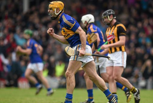 Tipperary's Kieran Bergin celebrates scoring what proved to be the last point in normal time