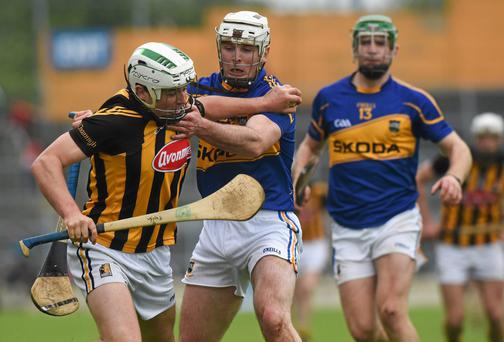 Pádraig Walsh, Kilkenny, in action against Gearóid Ryan, Tipperary