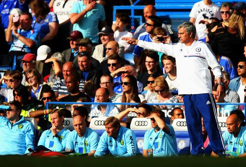 Chelsea manager Jose Mourinho looks on during the Barclays Premier League match between Chelsea and Norwich City at Stamford Bridge. (Photo by Clive Rose/Getty Images)