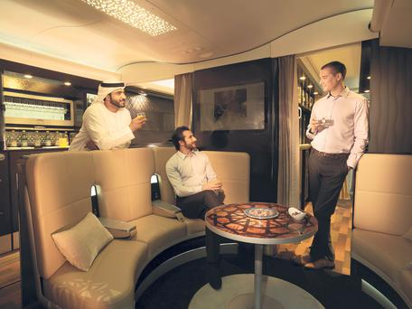 The social lobby area of a 'hotel-style' Etihad aircraft