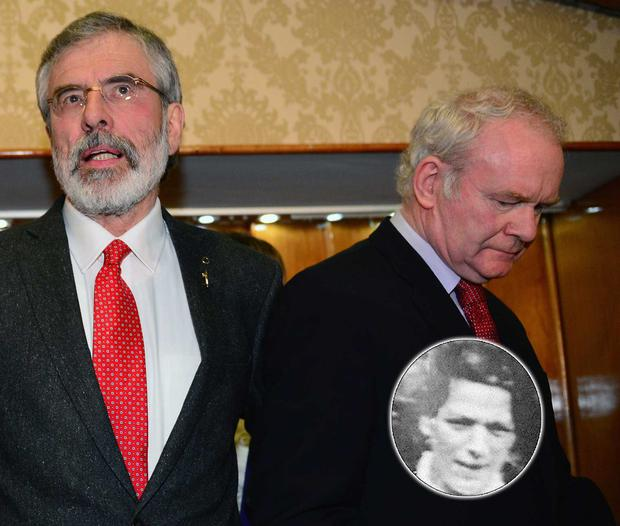Sinn Fein Leader Gerry Adams alongside Deputy First Minister of Northern Ireland, Martin McGuinness, as he prepares to speak during a press conference at Balmoral Hotel after he was released from Antrim PSNI Station without charge following questioning over the murder of Jean McConville (inset). (Photo by Jeff J Mitchell/Getty Images)