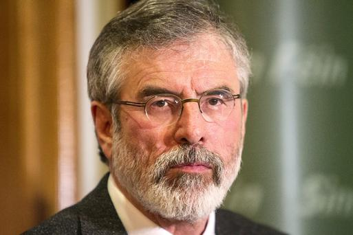 Sinn Fein leader Gerry Adams at a press conference in Belfast. Pic:Mark Condren