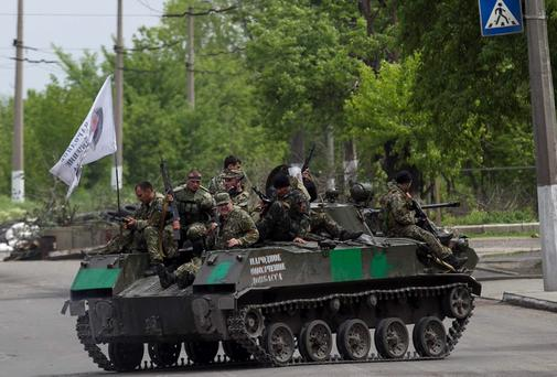 Pro-Russian armed men near Slaviansk, eastern Ukraine.