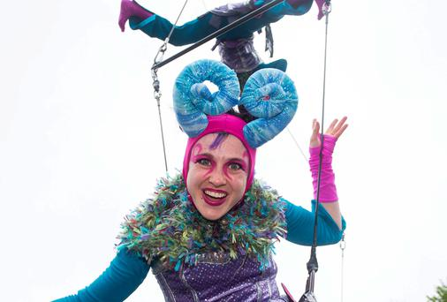 Scenes from the Fidget Feet aerial performance at Arthurs Quay Park. Picture: Alan Place/FusionShooters.