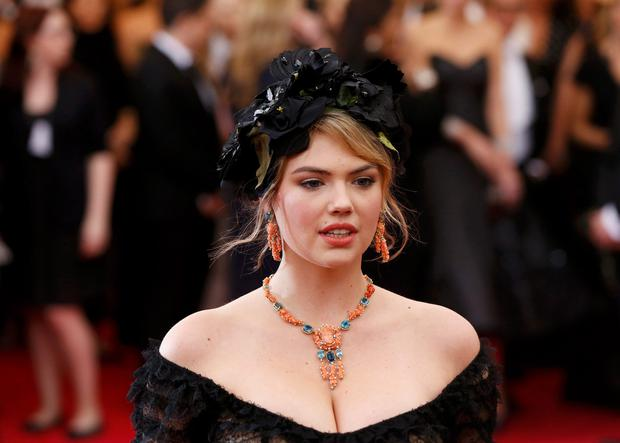 Model Kate Upton arrives at the Metropolitan Museum of Art Costume Institute Gala Benefit celebrating the opening of