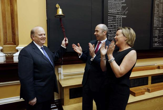Minister for Finance Michael Noonan T.D. with Kevin Nolan, CEO, Hibernia REIT and Deirdre Somers, Chief Executive of the Irish Stock Exchange, pictured at the launch of Hibernia REIT admission to trading in the Irish Stock Exchange in December