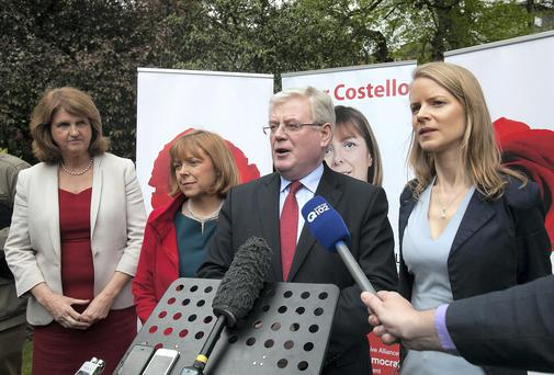 (L to R) Joan Burton TD, Emer Costello Labour MEP for Dublin and Labour Party candidate for the European elections for Dublin. Tánaiste Eamon Gilmore TD and Director of Elections, Loraine Muligan candidate for Dublin west By election at the official launch of MEP Emer Costello's European election campaign. Photo: Collins