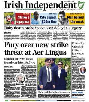 The front page of the Irish Independent, today, May 7th