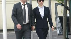 Colin Farrell and Rachel Weisz on set of 'The Lobster' in Dublin