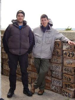Brian Burke (left) and Donnacha Woods (right) beside more than 800 nest boxes